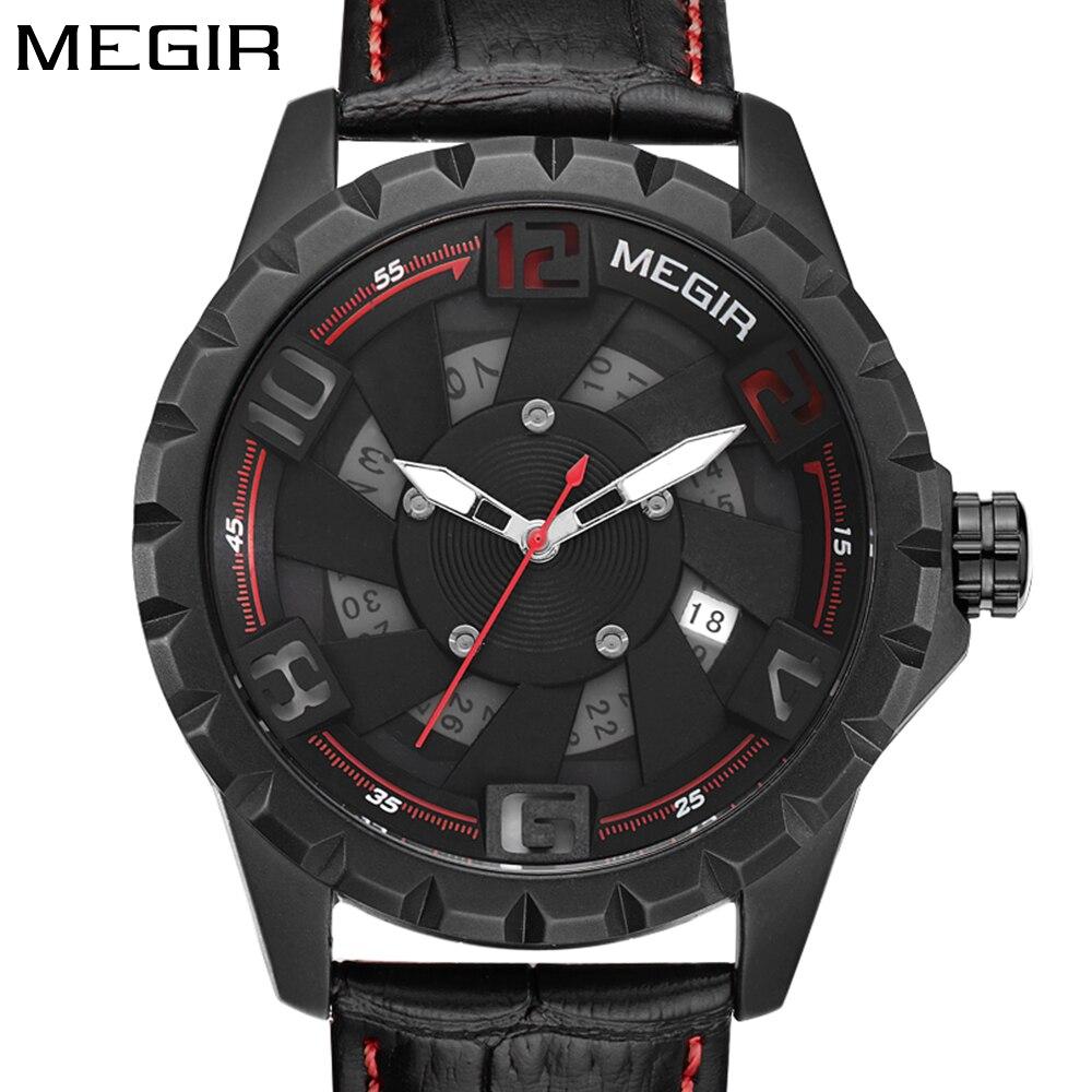 Megir Креативный дизайн 3d лица кожаный ремешок Мода спортивные часы мужские часы Топ люксовый бренд Мужские наручные часы relogio masculino