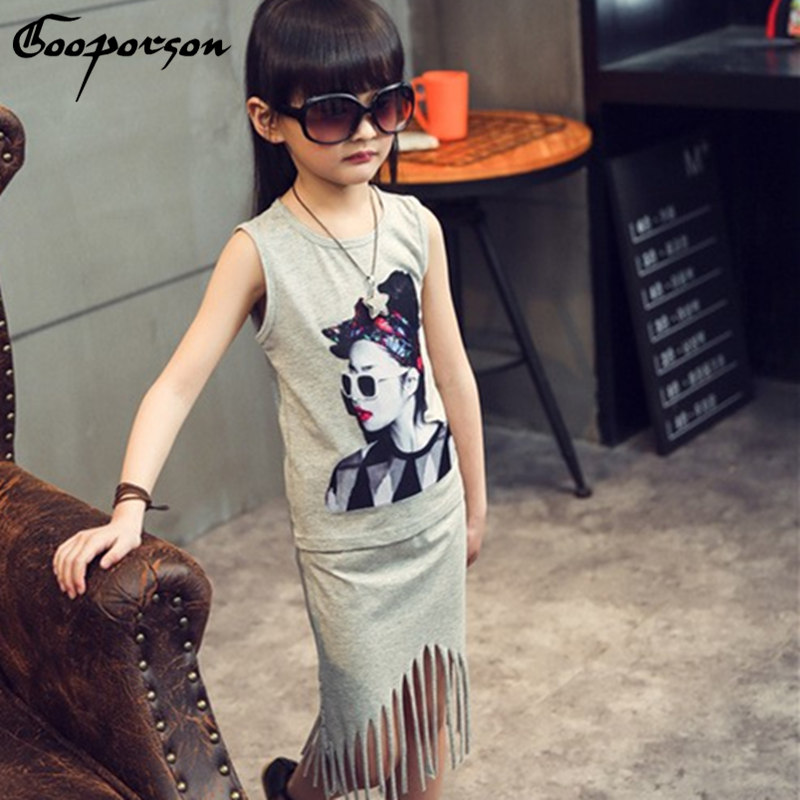 GOOPORSON Baby Girl Clothes Set Fashion Sleeveless Shirt + Tassel Skirt Kids Clothing Girl Set Children Clothes Suit