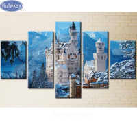 DIY Diamond Painting Cross Stitch 5D Diamond Embroidery Full Diamond Mosaic Crafts Needlework Cartoon 5pcs Set