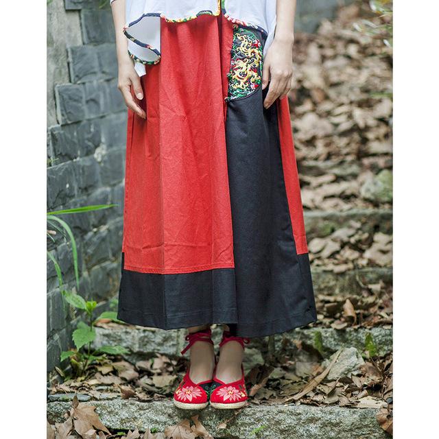 Mujeres Clásico rojo y negro color de Empalme Estilo Nacional Bordado Ocasional Faldas de Cintura Elástica 2015 verano Tobillo-longitud de la falda