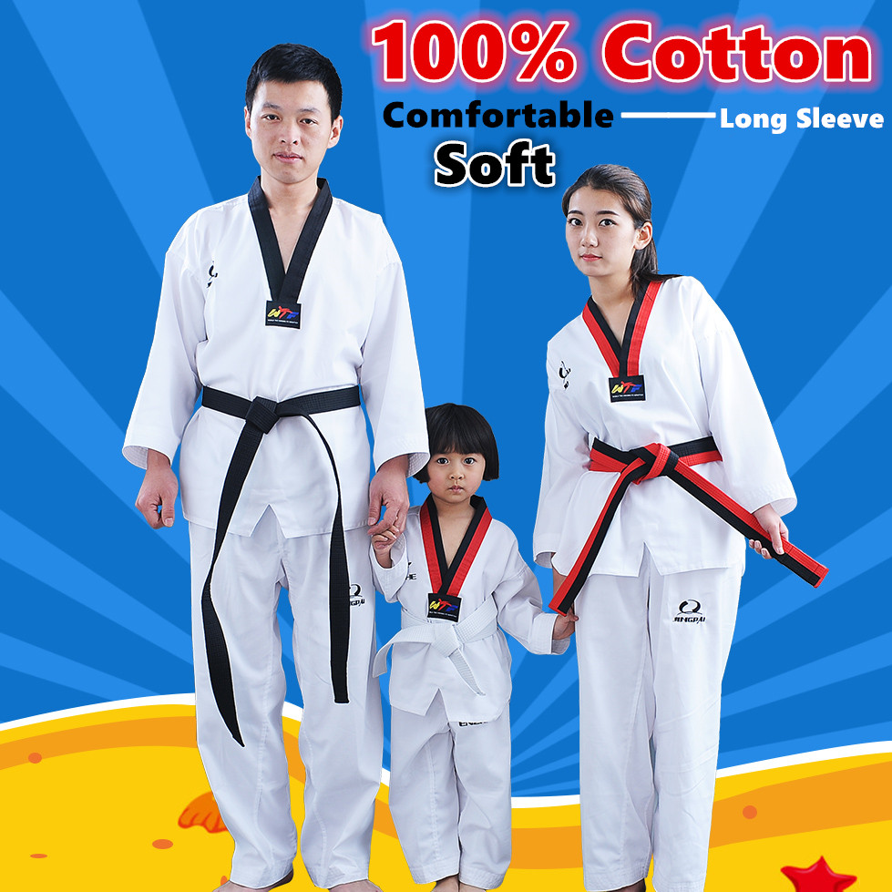 100% Cotton Taekwondo Uniform Children Adult Wtf Approved Tkd Karate Dobok Comfortable Soft Fitness Sport Clothes V-neck Suite Drip-Dry Other Fitness & Bodybuilding Products Sports & Entertainment