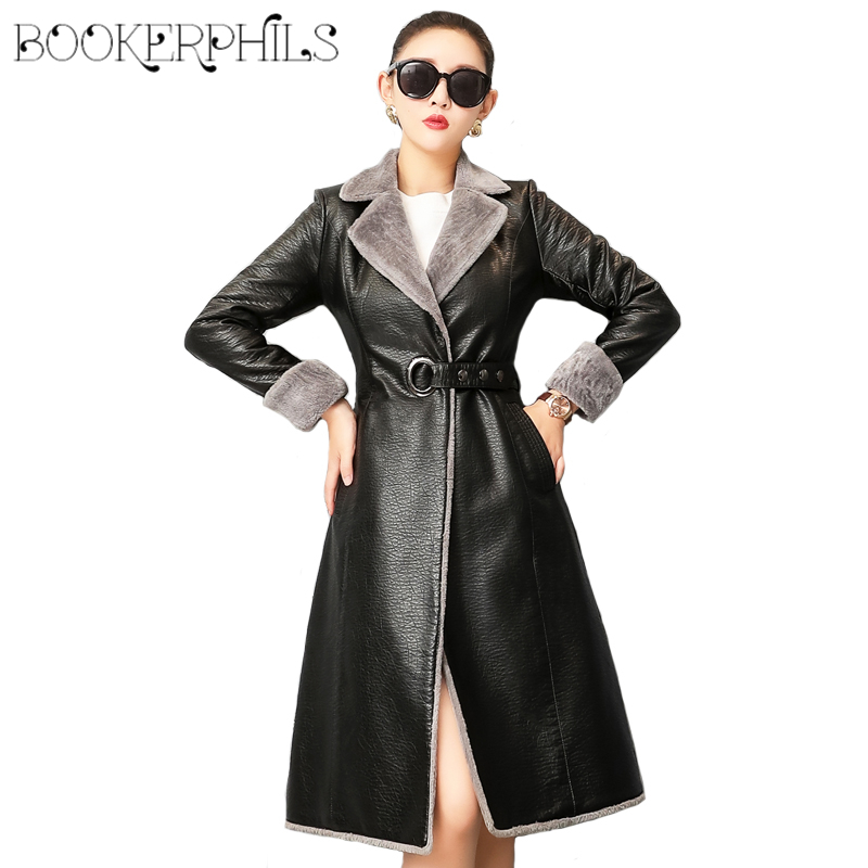 Fashion Women   Leather   Jacket Winter Autumn 2019 Plus Size 4XL Fur Jacket High Quality   Leather   Coat Female Outwear Windbreaker