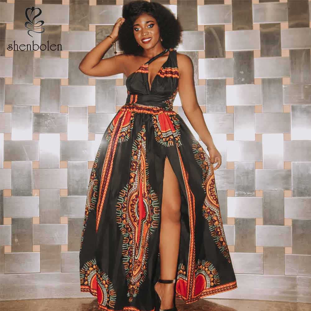 African Dresses For Women Dashiki New FashionHanging Neck Type Maxi Dress Batik Wax Print Clothes Traditional African Clothing