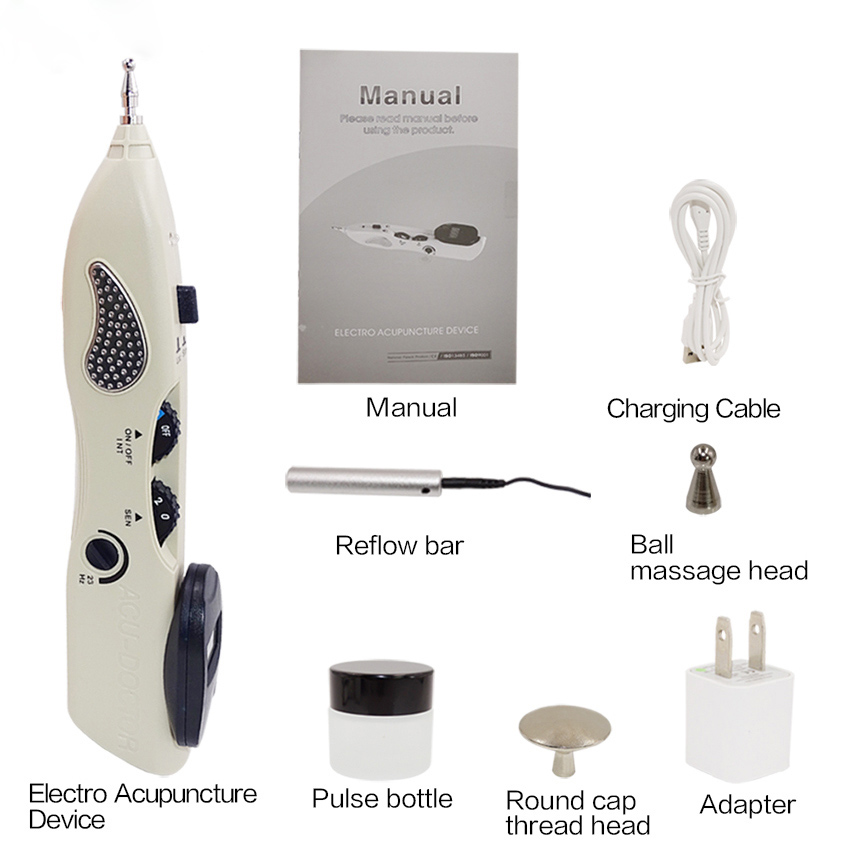 Electronic Acupuncture Pain Relief Pen Point Detector Acupressure Massage Physical Therapy Meridian Device Body Neck Relax Unit