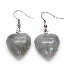 Kraft-beads Romantic Silver Plated Love Heart Labradorite Stone Earrings For Anniversary Jewelry