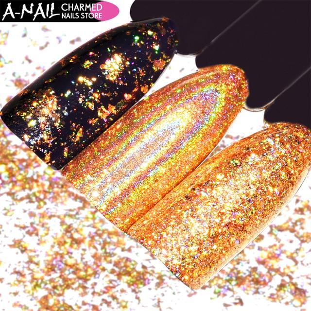 0,2 g/caja holográfica oro brillo en polvo copos de lentejuelas irregulares efecto espejo cromado pigmento decoración de uñas