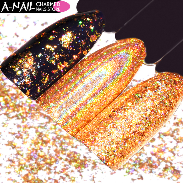 0.2g/box Holographic Gold Nail Glitter Powder Flakes Irregular Sequins Mirror Effect Chrome Pigment Nail Art Decoration