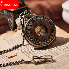 Wooden Men Pocket Watch Cool Luxury Lover Gift Chain Mechanical Hand Winding Bronze Watch Skeleton Steampunk Men Watch(China)