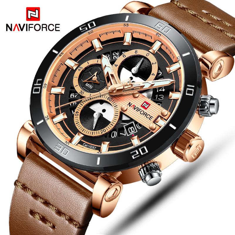 Mens Watches NAVIFORCE Luxury Brand Waterproof Quartz Watch Man Fashion Leather Sport Wrist Watch Men Clock Relogio Masculino