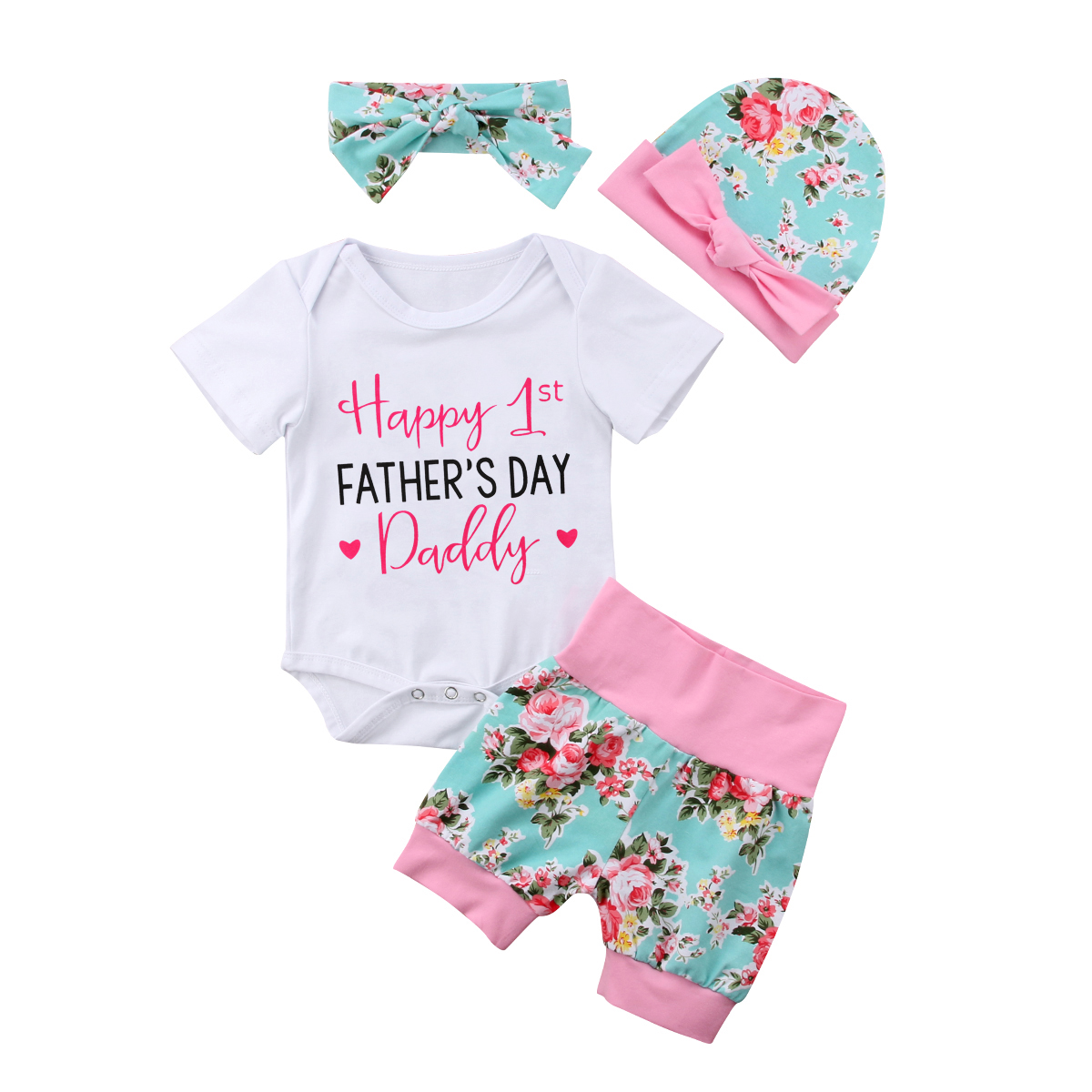 Newborn Infant Baby Girls 4Pcs Clothes Set Firts Father's Day Floral Clothes Romper Pants Hat Headband Summer Outfit