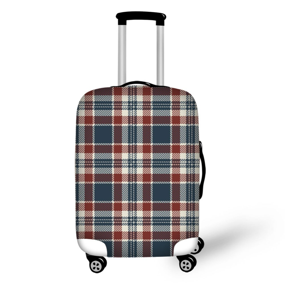Colorful Checked Design Print Luggage Cover High Elastic Fabric Covers Protective Covers For Suitcases Travel Accessories