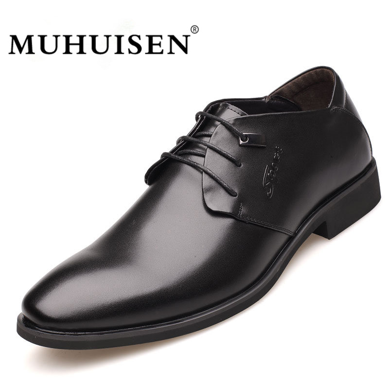 MUHUISEN Hot Sale Men Dress Shoes Spring Autumn Genuine Leather Business Oxford Shoes Lace-Up Flats Fashion Male Wedding Shoes spring korean men flats shoes british fashion trend of small leather flat shoes tide dress shoes hot sale b1198