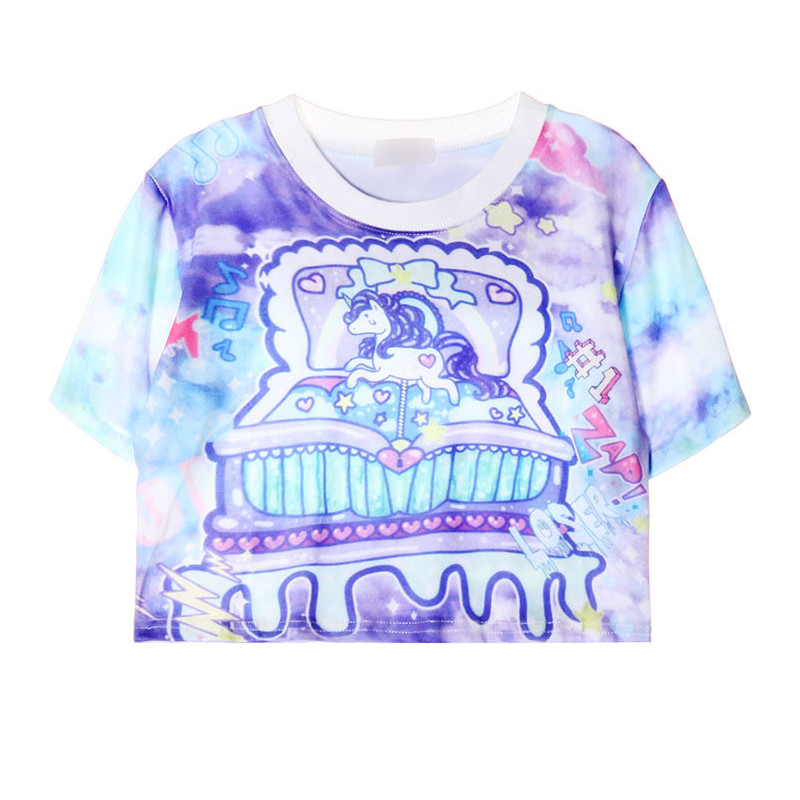 abc5d94293b Super Sweet Unicorn Crop Top Women Harajuku Cute Japan Kawaii Style Cropped  T shirt Couple Tshirt For Girls Sweethearts Tops-in T-Shirts from Women's  ...