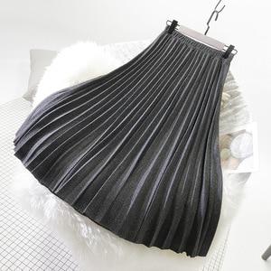 Image 3 - Sherhure 2019 冬の女性のウールのスカートハイウエスト A ラインのロングプリーツスカート高品質の女性のスカート段 Faldas ペチコートファムサイア