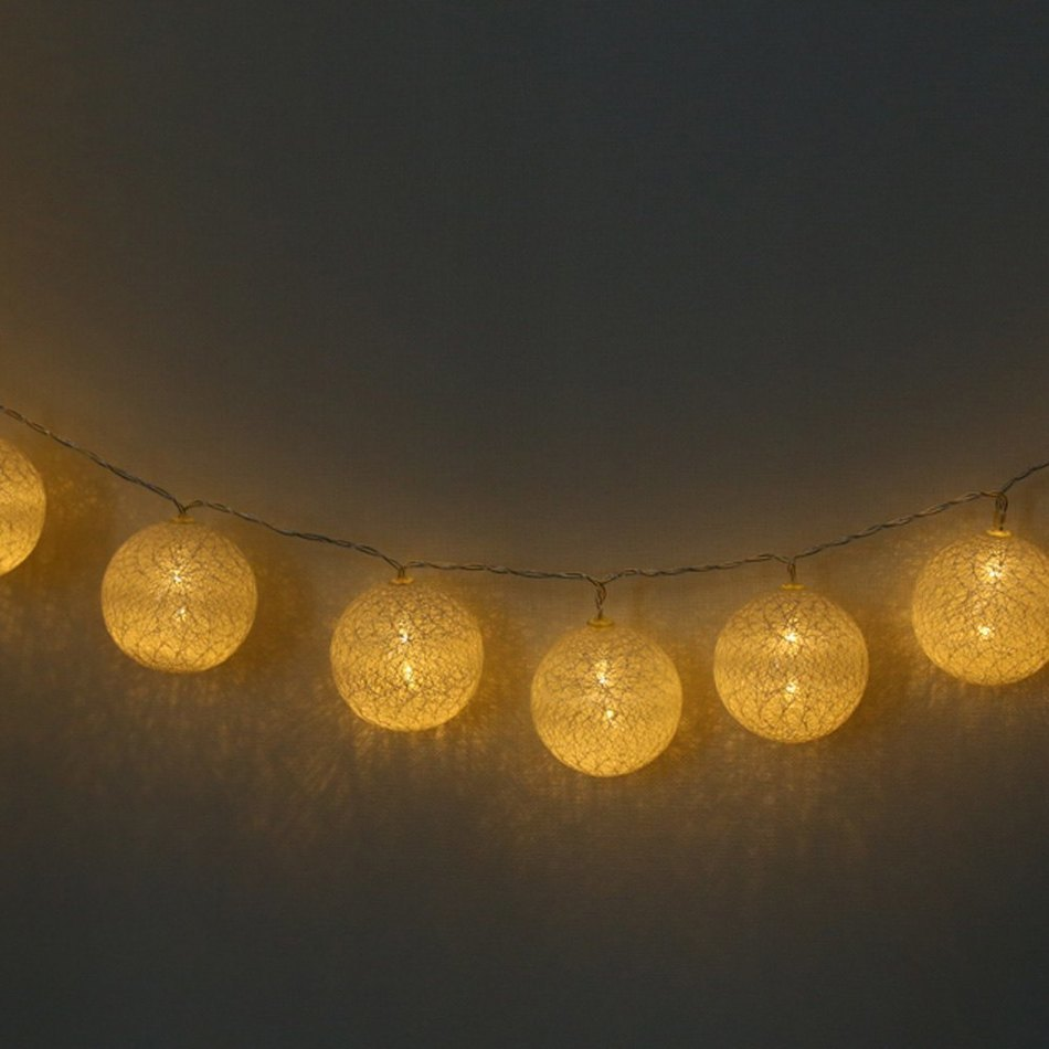 String Lights Big W : Morden MINI Bobbles Design 20PCS 0.4W 2M Creative Cotton LED Ball String Lights for Decoration ...