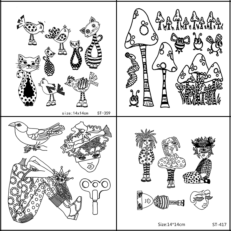 AZSG Fantastic Woman/cat/Mushroom/Stripe Clear Stamps For DIY Scrapbooking/Card Making/Album Decorative Silicone Stamp Crafts