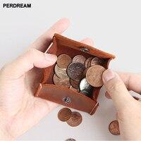 Handmade retro men's short mini purse crazy horse leather buckle Coin Purse