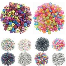 Sale 100 piece/Lot Random Handmade/DIY Square/Round Alphabet Digital/Letter Acrylic Cube for Jewelry Making Loom Band Bracelets(China)