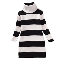 Baby Girls Knitted Cotton Dress Casual Black White Striped Turtleneck Sweater Dresses Mother And Daughter 2