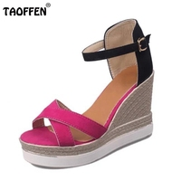 TAOFFEN Size 35 39 Sexy Office Lady High Heel Sandals Ankle Strap Thin Heel Sandals Summer
