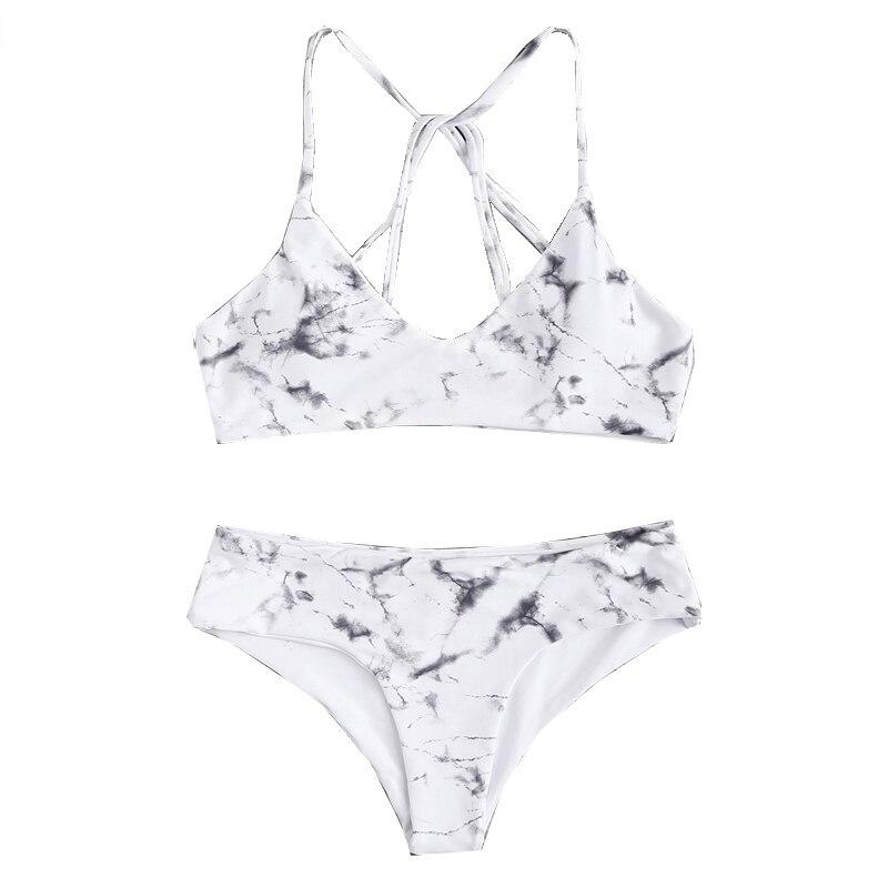 Romwe Sport Black and White Sexy Marble Print Polyester Korean Bikini Set Women 18 Beach Hot Sexy Swimwear High Waist Biquinis 10