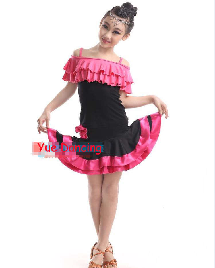 Red/ Green Girls Latin Skirts & Tops Set Tango Dress Latina Short Sleeves Latin Dance Children Kids Salsa/ Ramba/Tango Dancewear
