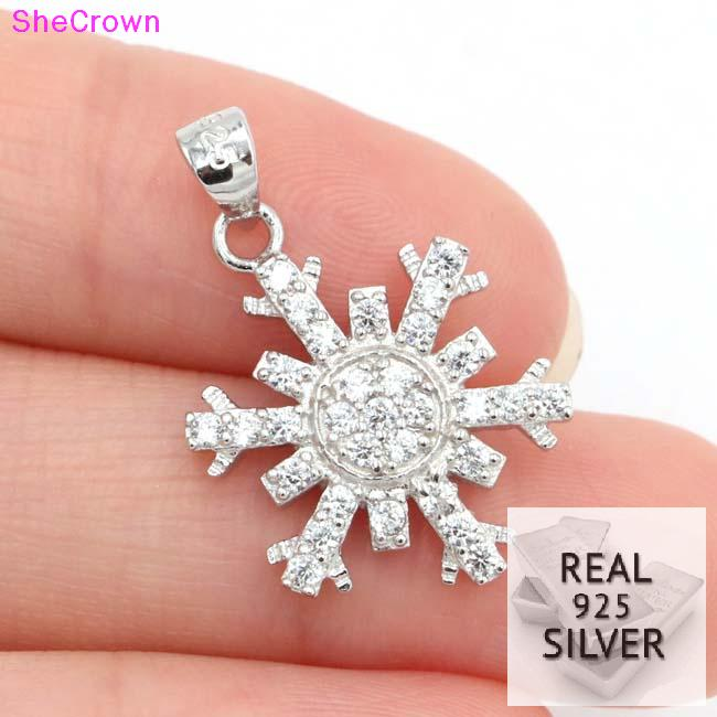 Real 925 Solid Sterling Silver 11.7ct Snowflake Cubic Zirconia Woman's Engagement Pendant 25x15mm Welcome Drop Shipping