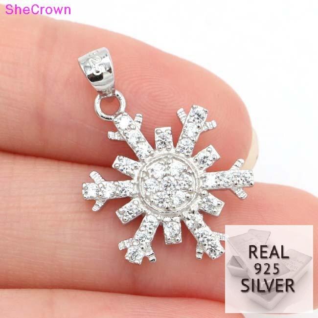 Real 925 plata esterlina sólida 11.7ct de copo de nieve de la Zirconia cúbica de la mujer colgante de compromiso 25x15mm Bienvenido envío de la gota