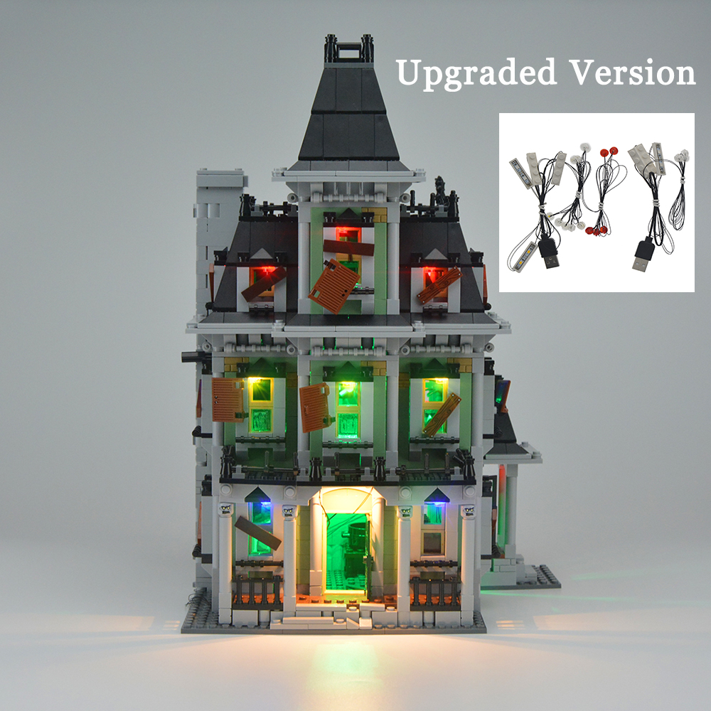 MTELE Brand LED Light Up Kit til City Monster Fighter Haunted House Building Block Light Set Kompatibel med Lego 10228