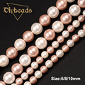 "White And Pink Shell Pearl 6mm 8mm 10mm Round Loose Beads 15""/38cm For DIY Jewelry Making Diybeads Wholesale"