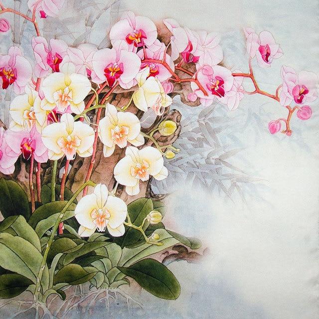 100% Silk Scarf Women Scarf Butterfly Orchid Silk Shawl 2017 Designer Scarf Silk Pashmina Long Thick Silk Wrap Luxury Lady Gift