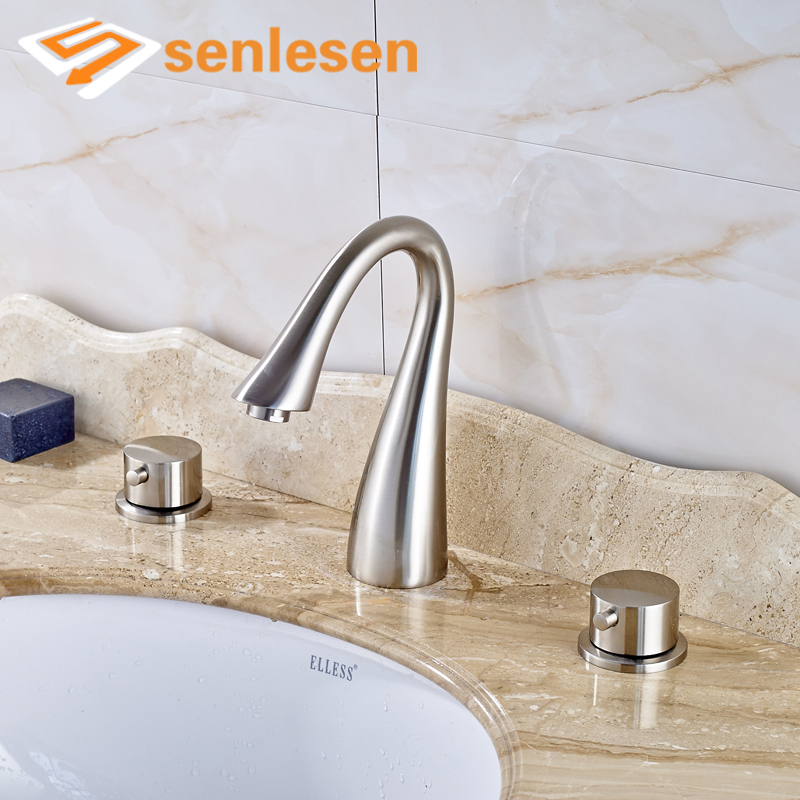 Swan Shaped High Quality Water Taps with Dual Handles Widespread Basin Faucet