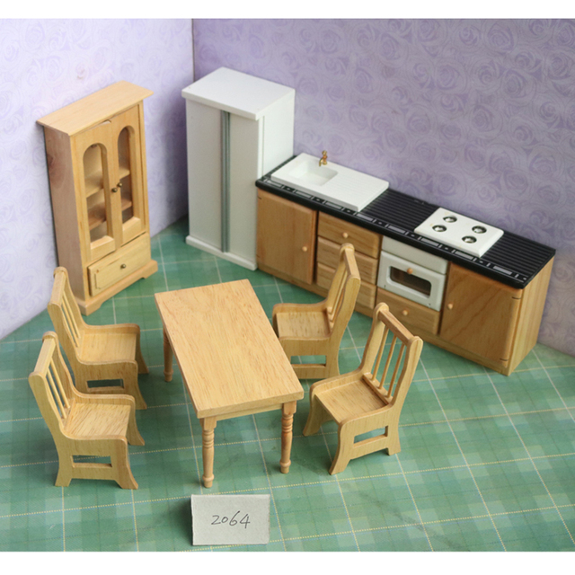 Doub K 1:12 Wooden Dollhouse Furniture Toy Miniature Refrigerator Table  Stove Kitchen Set Dolls