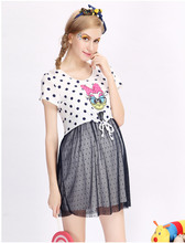 Retail Sale 100% Polyester Lady Women Clothes Lace Cartoon Print Maternity Clothing Plus Size Summer Dress For Pregnant Women
