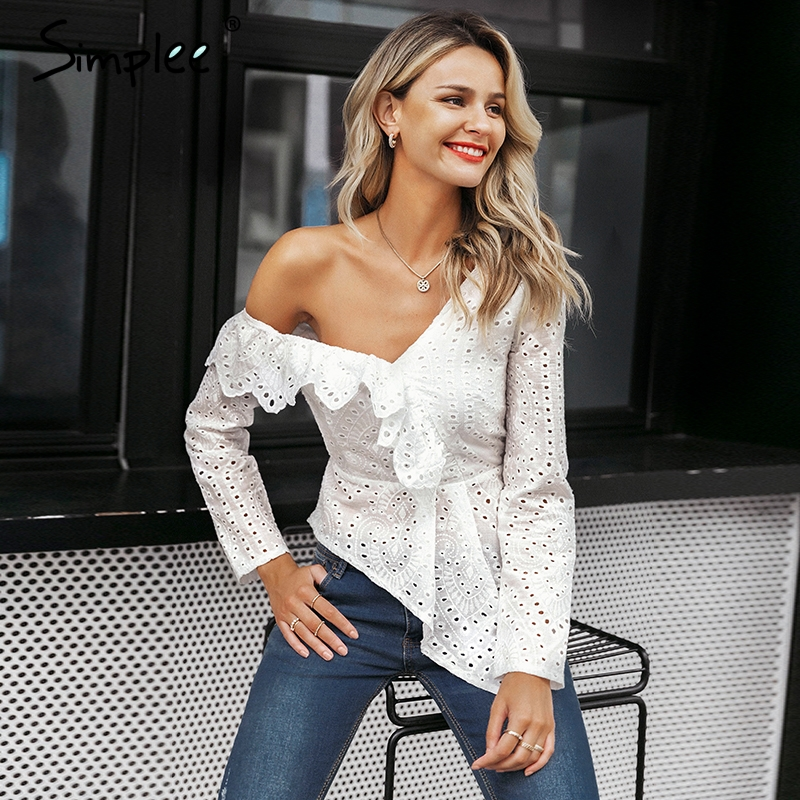 Simplee Sexy ruffle white cotton lace embroidery blouse women Asymmetrical one shoulder feminine blouse Streetwear korean tops