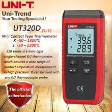 UNI T UT320D مقياس حرارة تلامسي صغير ، ثنائي القناة K/J الحرارية ميزان الحرارة البيانات للحفاظ على إيقاف تلقائيا
