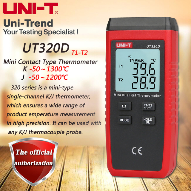 UNI T UT320D Mini Contact Thermometer, Dual Channel K/J Thermokoppel Thermometer Data Te Houden Automatisch Uit