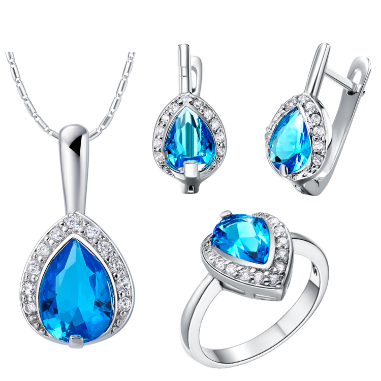 Nice Nice Plating Finr Jewelry Sets For Women,necklace/earring/rings,mosaic Drop-shaped Crystal,blue/red/purple,wedding Gift Jewelry & Accessories Wedding & Engagement Jewelry