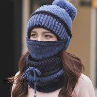 Women's winter tide knit hat, wool earmuffs bib hat, youth winter thickening plus velvet warm mask hat