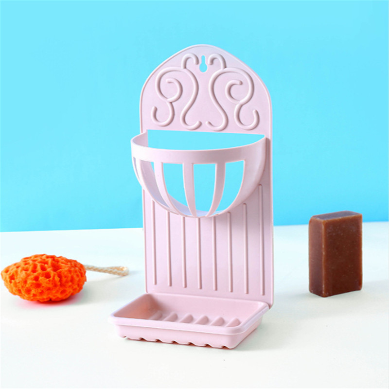Wall Mounted Plastic Soap Holder Rack Double Layers Drain Shelf ...