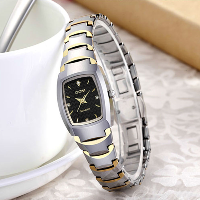 DOM 2016 Women Watches Fashion Personality Quartz Watch Tungsten Steel Belt Vintage Simple Casual Waterproof Wristwatch