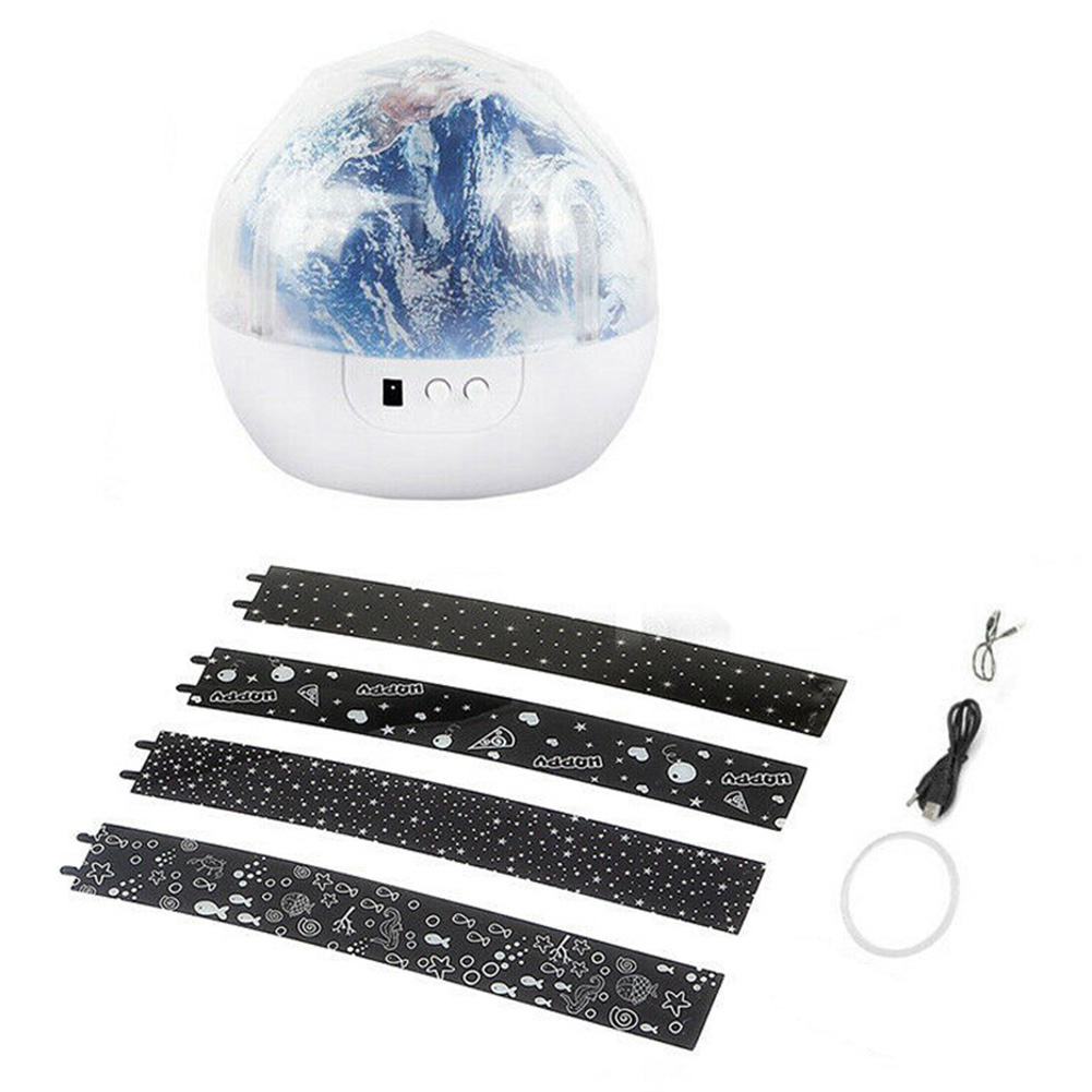 New Kids Night Light Projector Lamp 360 Rotating Starry Planet Lamp for Bedroom Gift with 5 Sets Film NE