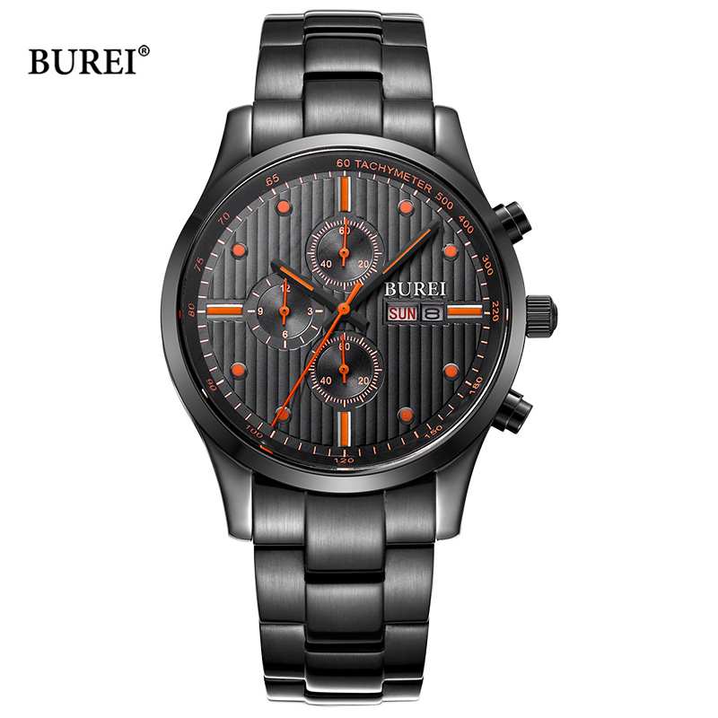 BUREI Brand Watch Waterproof Army Military Sapphire Crystal Chronograph Quartz Wrist Watch Mens Clock Men 2017 Relogio Masculino seiko watch premier series sapphire chronograph quartz men s watch snde23p1