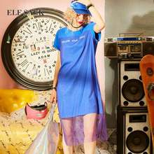 ELF SACK 2018 Summer Fashion Simple Style Straight Letter Dress Woman O-neck Short Sleeve Casual Dresses Party Harajuku Dresses