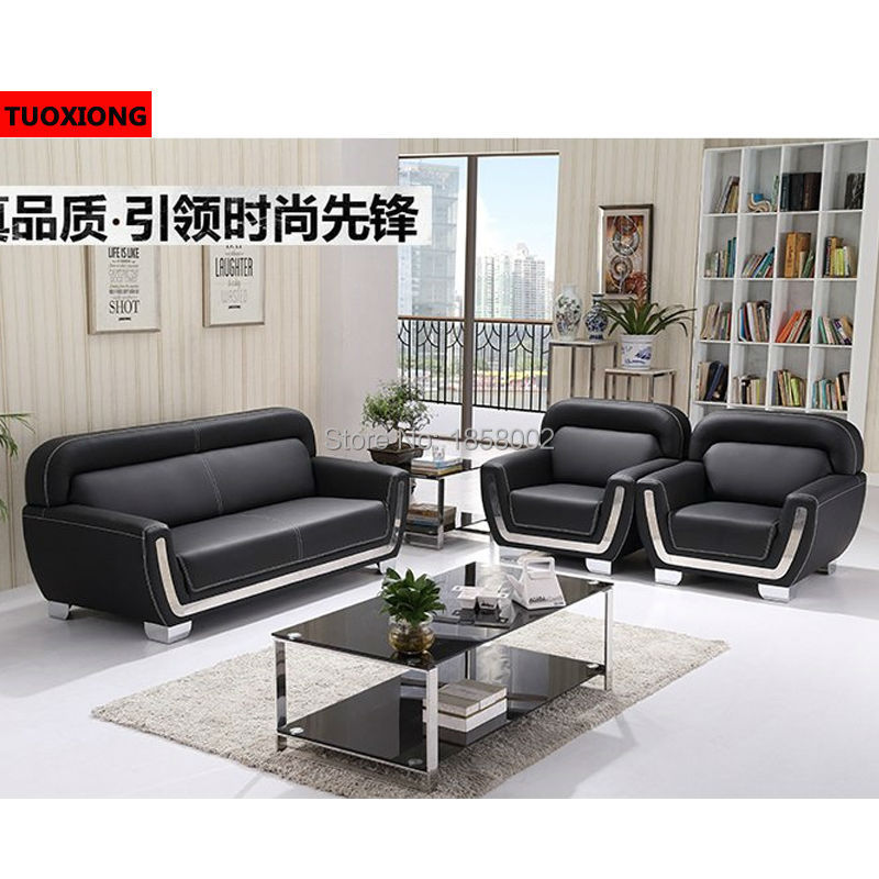 Modern Black Genuine Leather Office Sofa Furniture Manufacturer  Multifunction Office Sofa Coffee Table Set Parlor Sofa In Office Sofas From  Furniture On ...