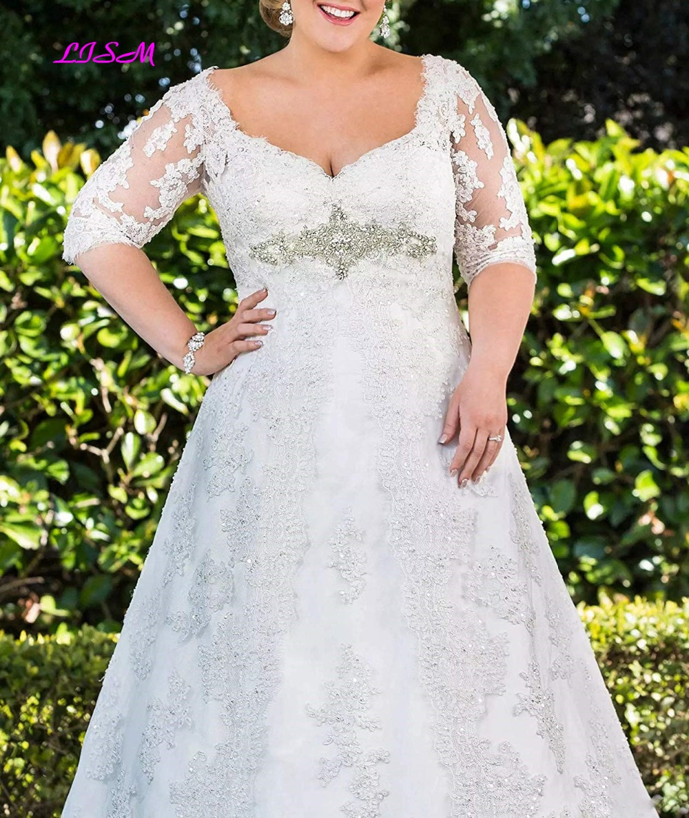 Plus Size Lace Applique Long Wedding Dress Sweetheart Half Sleeves Bridal Dress with Belt A-Line Sheer Back Tulle Wedding Gowns
