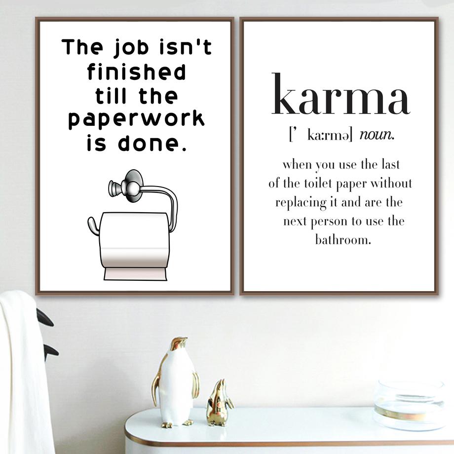 Toilet Paper Karma Nordic Canvas Posters And Prints Wall Art Canvas Painting Wall Pictures For Bathroom Scandinavian Home Decor
