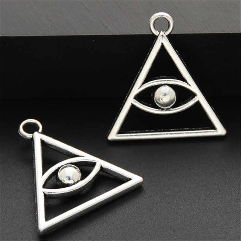 15 יחידות עתיק כסף אבץ סגסוגת מצרי עיניים משולש עיניים קסמי תליון בעבודת יד תכשיטי אביזרי A2504