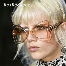 f18cba9ab2 KeiKeSweet Luxury Brand Designer Cat Eye Transparent Sexy Blue Women  Sunglasses Gradient Lens Lady Oversized Retro Sun Glasses