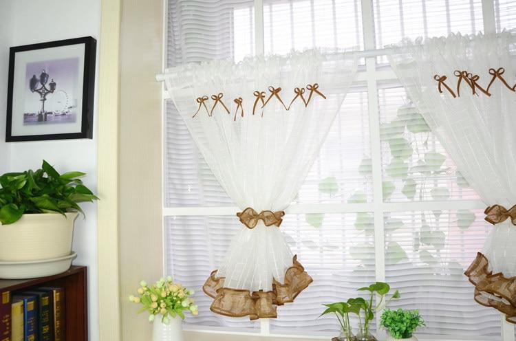 White Roman Kitchen Tulle Curtain 3